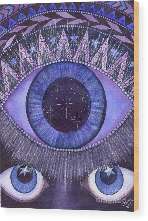 Thrid Eye Wood Print featuring the painting Third Eye Chakra by Catherine G McElroy