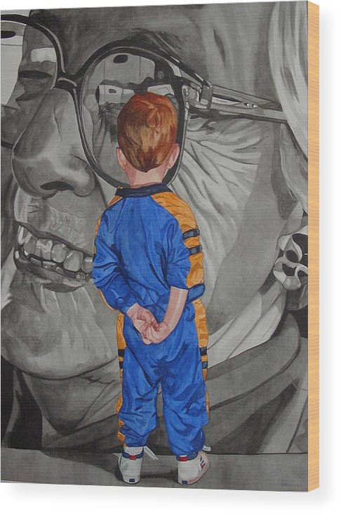 Children Wood Print featuring the painting Timeless Contemplation by Valerie Patterson