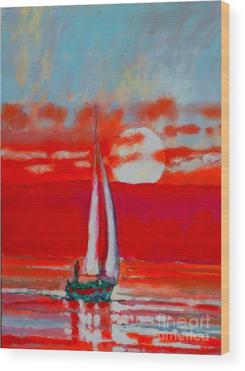 Sailing Wood Print featuring the painting Toward Sunset I by Kip Decker