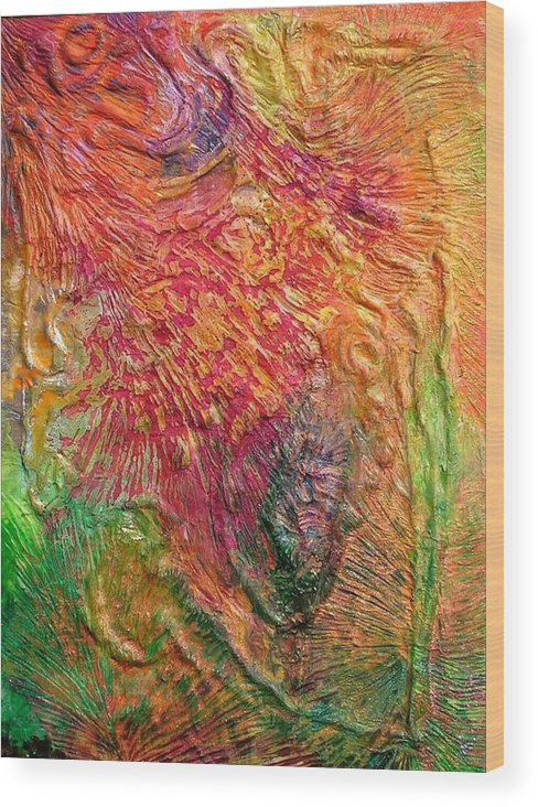 Abstract Wood Print featuring the painting Tropical by John Vandebrooke