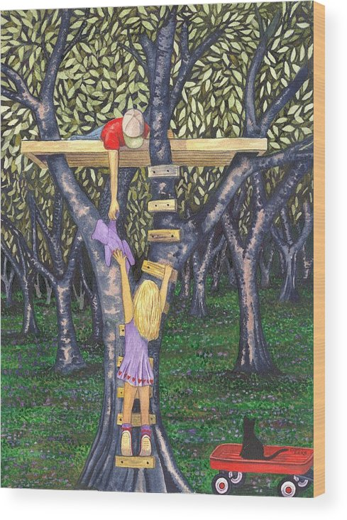 Children Wood Print featuring the painting Trust by Catherine G McElroy