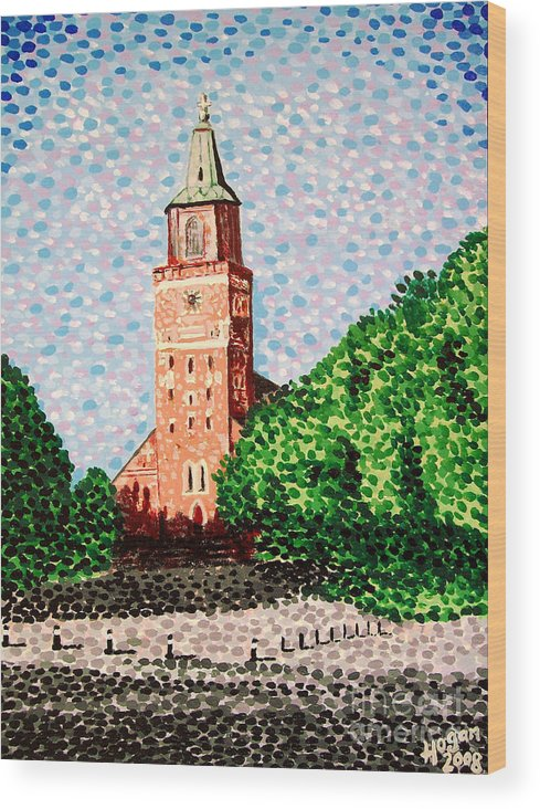 Finnish Wood Print featuring the painting Turku Cathedral by Alan Hogan