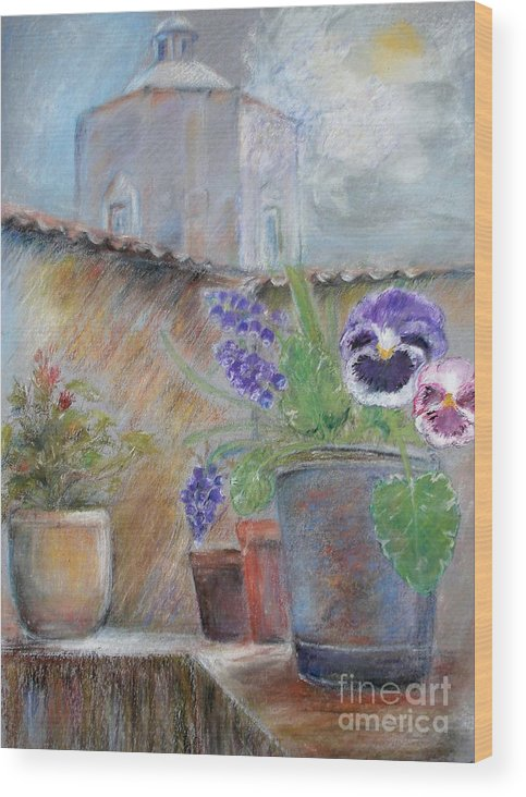 Pastels Wood Print featuring the painting Tuscan Courtyard by Sibby S