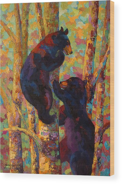 Bear Wood Print featuring the painting Two High - Black Bear Cubs by Marion Rose