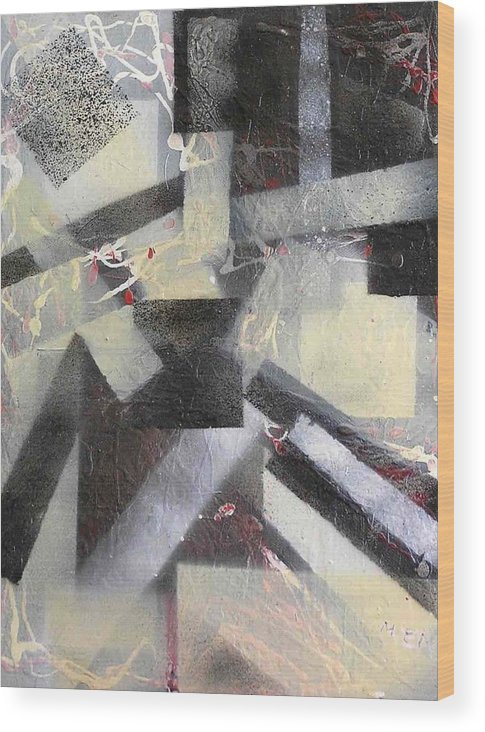 Abstract Wood Print featuring the painting undercover N1 by Evguenia Men