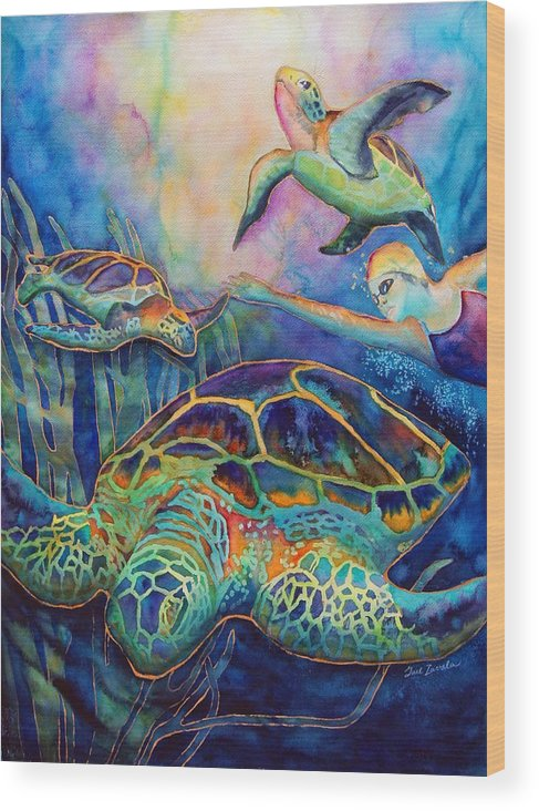 Animal Wood Print featuring the painting Undersea Adventure by Gail Zavala