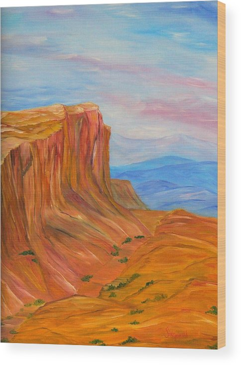 Southwest Wood Print featuring the painting Valley Of Fire by Cary Singewald