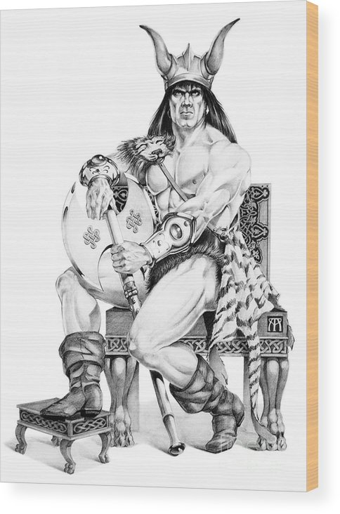 Viking Wood Print featuring the painting Viking Warrior by Melissa A Benson