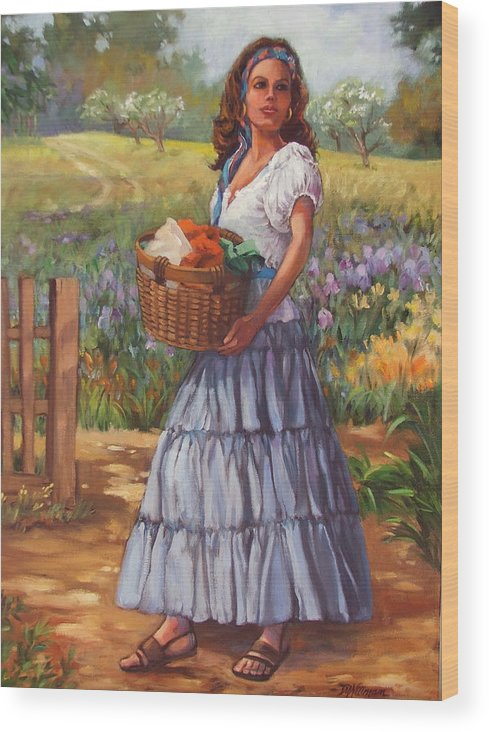 Female Figure Wood Print featuring the painting Wash Day by Dianna Willman