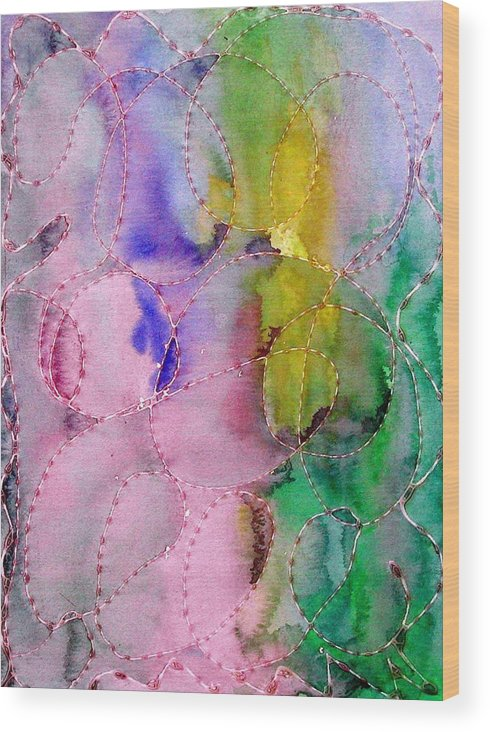 Mixed Media Wood Print featuring the digital art Watercolor And Glue by Margie Byrne