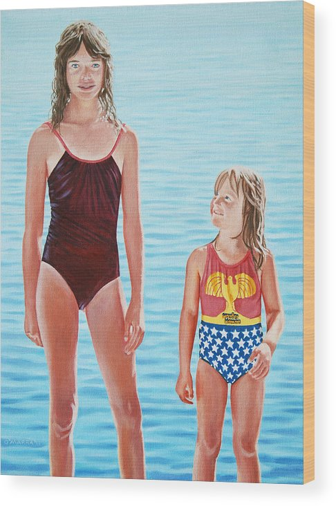 Girls Wood Print featuring the painting We All Need Our Heroes by Allan OMarra