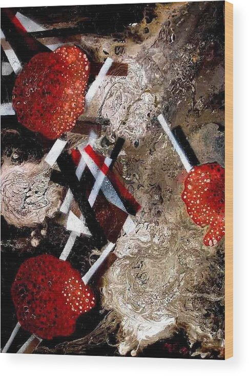Wood Print featuring the painting Weird Fruits by Evguenia Men