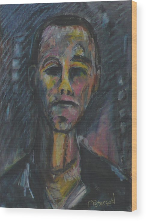 Portrait Wood Print featuring the painting What Now He Asks by Todd Peterson