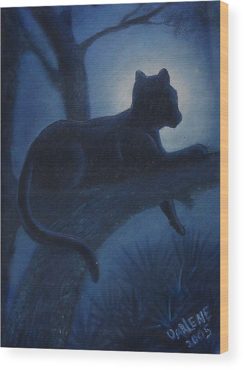 Cougar Wood Print featuring the painting Whos Watching Who Cougar by Darlene Green
