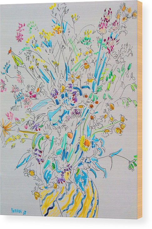 Wild Wood Print featuring the painting Wild Flowers by Vitali Komarov