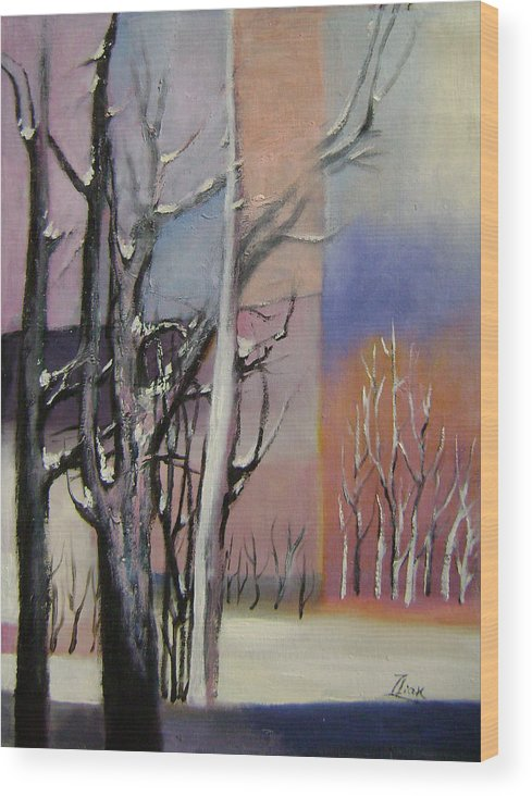 Abstract Wood Print featuring the painting Winter by Lian Zhen