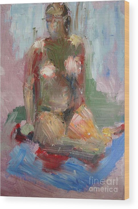 Contemporary Female Nude Wood Print featuring the painting Woman           Copyrighted by Kathleen Hoekstra