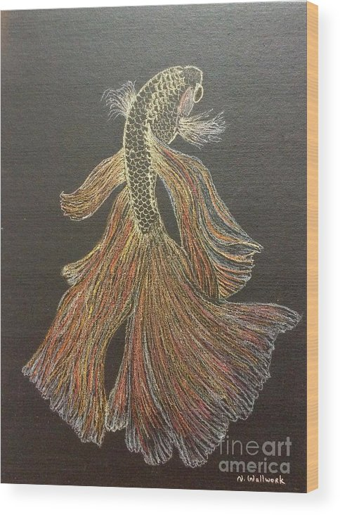 Fish Wood Print featuring the pastel Yellow Fish by Natalia Wallwork