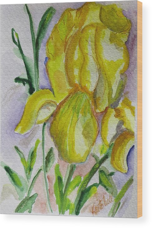 Floral Wood Print featuring the painting Yellow Iris by Kathy Mitchell