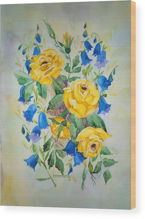 Roses Flowers Wood Print featuring the painting Yellow Roses And Blue Bells by Irenemaria