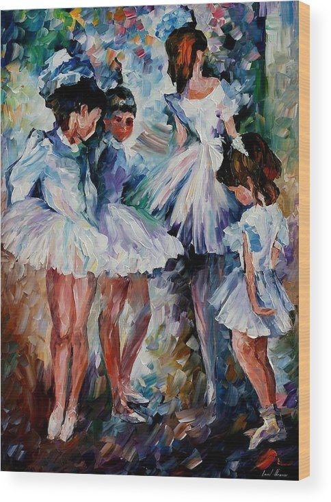 Afremov Wood Print featuring the painting Young Ballerinas by Leonid Afremov