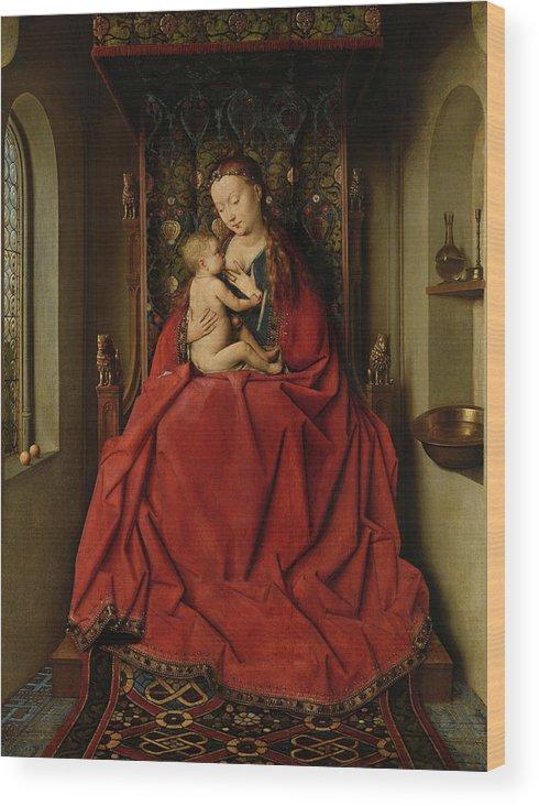 Jan Van Eyck Wood Print featuring the painting Lucca Madonna by Jan van Eyck