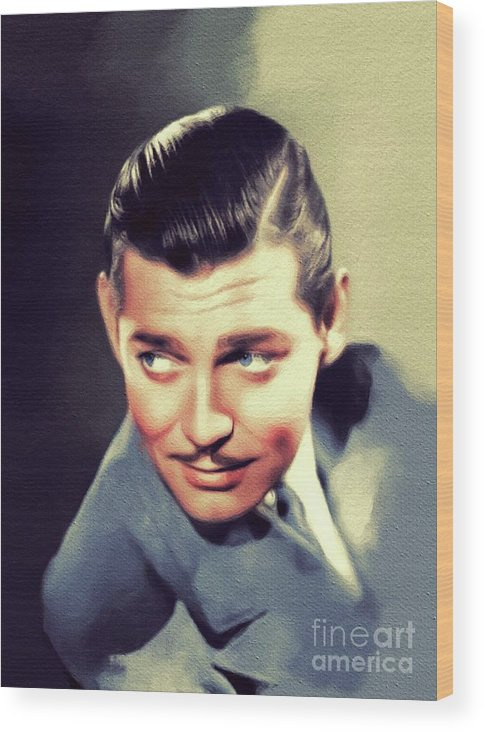 Clark Wood Print featuring the painting Clark Gable, Vintage Movie Star by Esoterica Art Agency