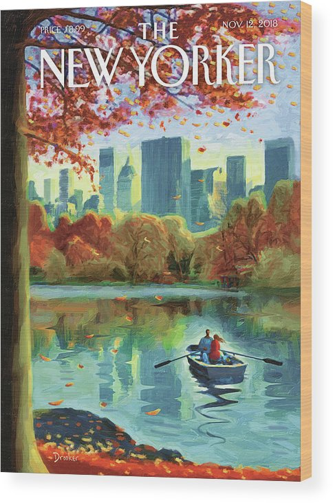 Autumn Central Park Wood Print featuring the drawing Autumn Central Park by Eric Drooker