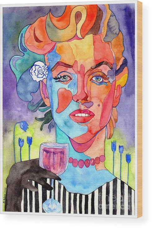Marilyn Monroe Wood Print featuring the painting Crying Marilyn by Suzann Sines