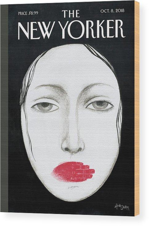 Unheard Wood Print featuring the drawing Unheard by Ana Juan