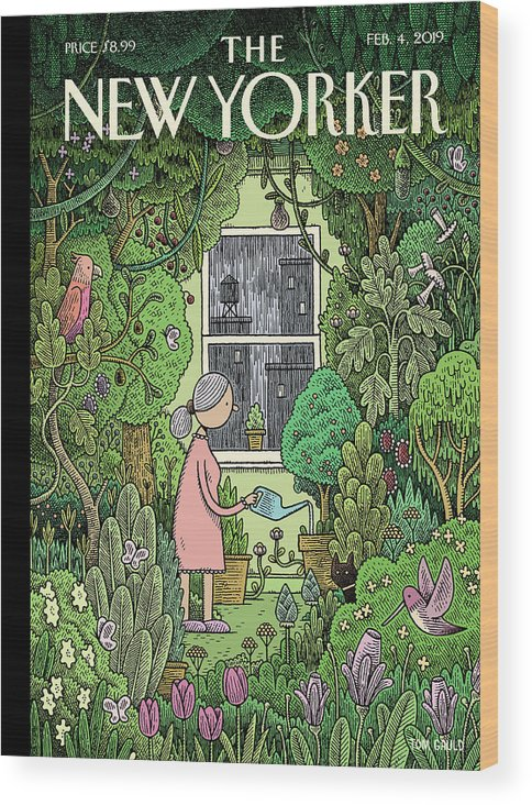 Winter Garden Wood Print featuring the painting Winter Garden by Tom Gauld