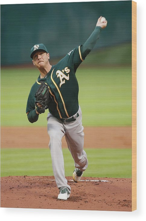 American League Baseball Wood Print featuring the photograph Scott Kazmir by Scott Halleran