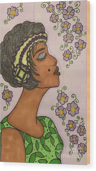 Josephine Baker Wood Print featuring the drawing Josephine by Mary Strauchman