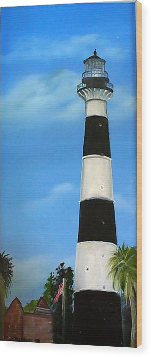 Cape Canaveral Lighthouse Wood Print featuring the painting Cape Canaveral Lighthouse by Darlene Green