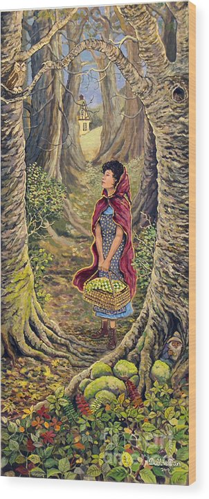 Forest Wood Print featuring the painting Red Riding Hood On The Path To Grama's House by Debbie Dan