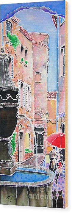 Rairain Wood Print featuring the painting Raining In St-paul De Vence by Hisayo Ohta
