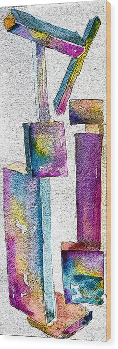 Abstraction Wood Print featuring the painting Abstraction by Mindy Newman