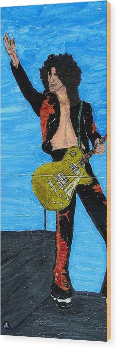 Led Zeppelin Wood Print featuring the painting Page by Mike Naze