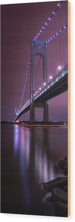 50s Wood Print featuring the photograph Purple Bridge by Edgars Erglis
