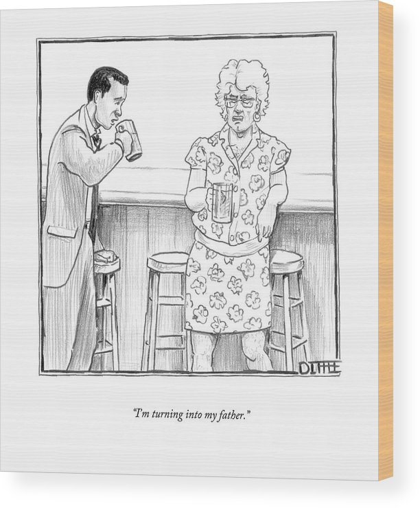 Bars Wood Print featuring the drawing I'm Turning Into My Father by Matthew Diffee