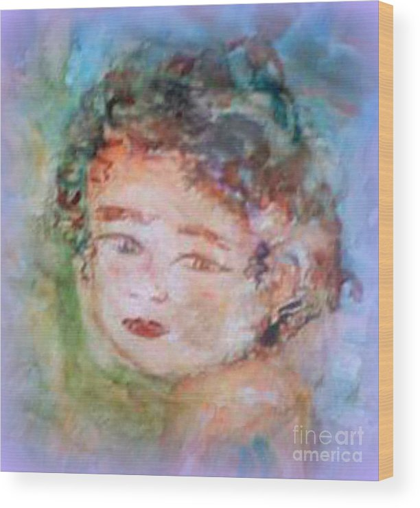 Child Portrait Wood Print featuring the photograph Baby Face by Merry Blankenship