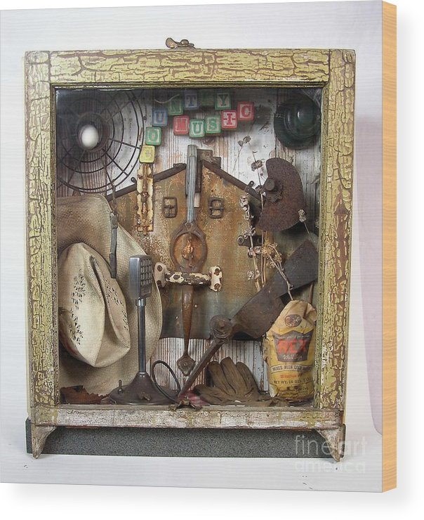 Music Wood Print featuring the sculpture Country Music #3 by Bill Czappa