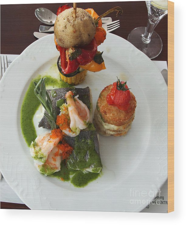 Gourmet Food Wood Print featuring the photograph Halibut With Prawns Cyprus by Ros Drinkwater