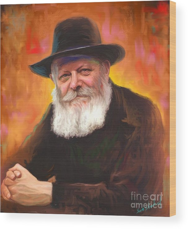 Lubavitcher Rebbe Wood Print featuring the painting Lubavitcher Rebbe by Sam Shacked