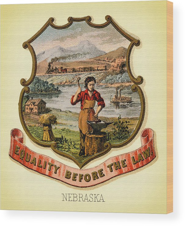 Lithograph Wood Print featuring the photograph Nebraska Coat Of Arms -1876 by Mountain Dreams