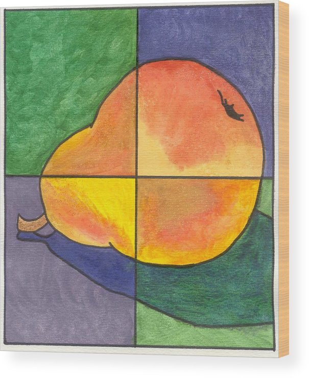 Pear Wood Print featuring the painting Pear II by Micah Guenther