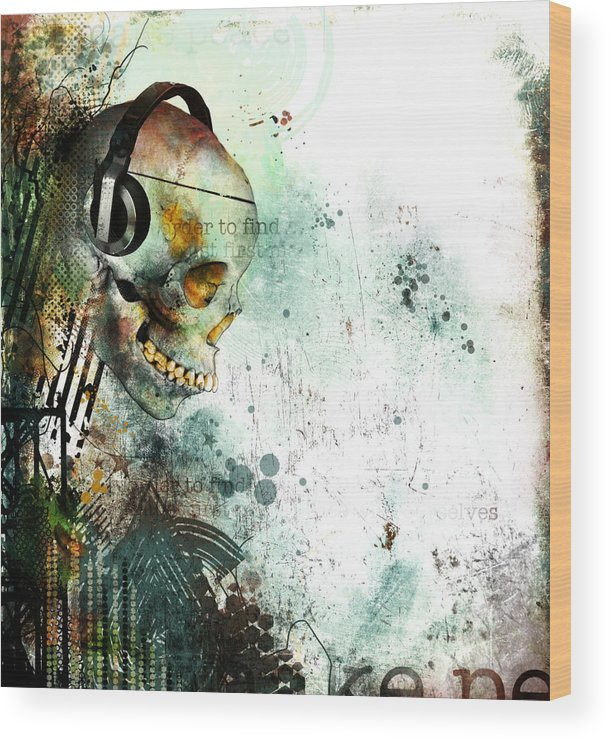 Skull Wood Print featuring the digital art Solace Of A Fractured Mind by Ian Jones