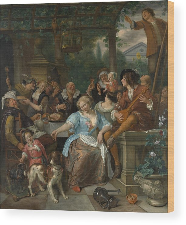 Animal Wood Print featuring the painting Merry Company On A Terrace by Jan Steen