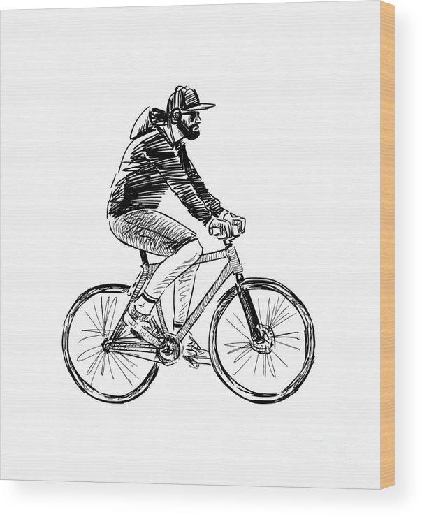 Motorcycle Wood Print featuring the digital art Bike Life by Sisuh Tiwul
