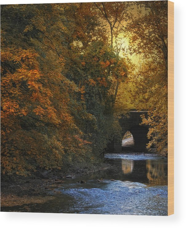 Autumn Wood Print featuring the photograph Autumn Country Bridge by Jessica Jenney